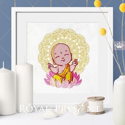 Cute Buddha Machine Embroidery Design - 2 sizes
