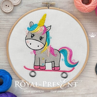 Unicorn on a skateboard Embroidery Design - 2 sizes