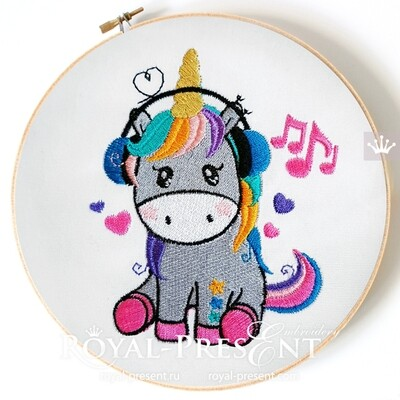 Unicorn is listening to music Machine Embroidery Design - 2 sizes