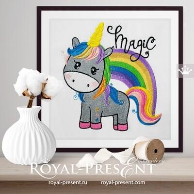 Unicorn with rainbow Machine Embroidery Design - 2 sizes