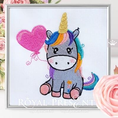 Unicorn with balloon Machine Embroidery Design - 2 sizes