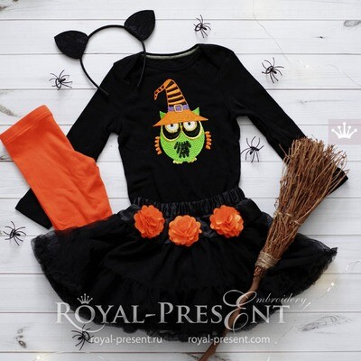 Halloween Owl in a cap Machine Embroidery Design - 3 sizes