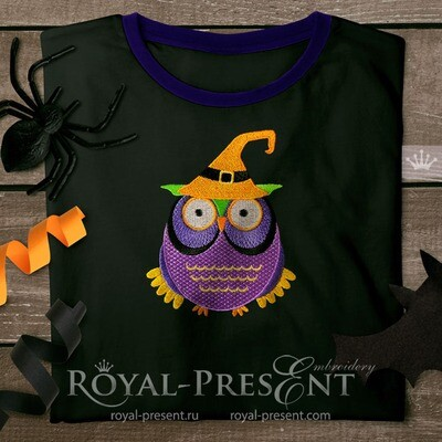 Halloween Owl in a Witch cap Machine Embroidery Design - 3 sizes