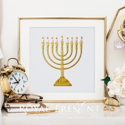 Menorah Machine Embroidery Design - 7 sizes