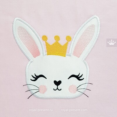 Bunny in the crown Applique Embroidery Design - 3 sizes