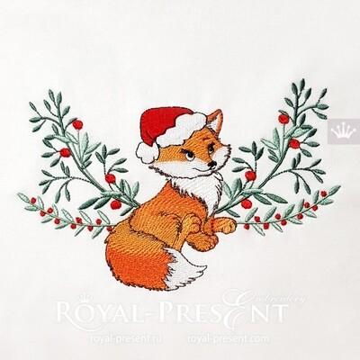 Christmas Fox Machine Embroidery Design - 2 sizes