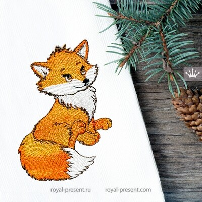 Cute Fox Machine Embroidery Design - 2 sizes
