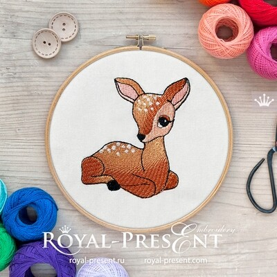 White-Tailed Fawn Embroidery Design - 2 sizes
