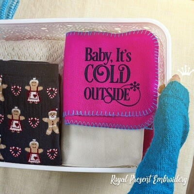 Baby it's cold outside Quote machine embroidery design - 2 sizes