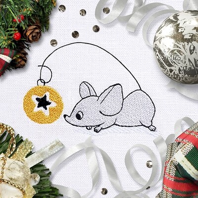 Mouse with Christmas ball Machine Embroidery Design - 2 sizes