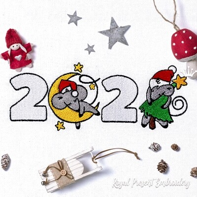 Year of the Rat 2020 Machine Embroidery Design - 2 sizes