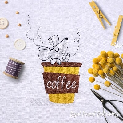 Mouse in a coffee cup Machine Embroidery Design