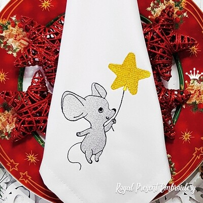 Mouse with Star Machine Embroidery Design