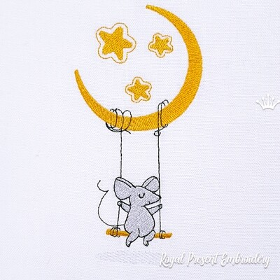 Tiny Mice on swing Machine Embroidery Design