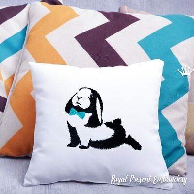 Black and white Rabbit Machine Embroidery Design - 4 sizes