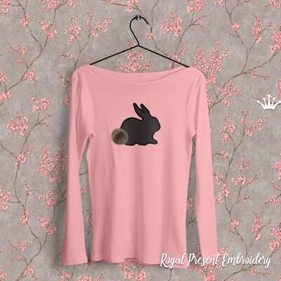 Rabbit Applique Digital Embroidery Design - 4 sizes
