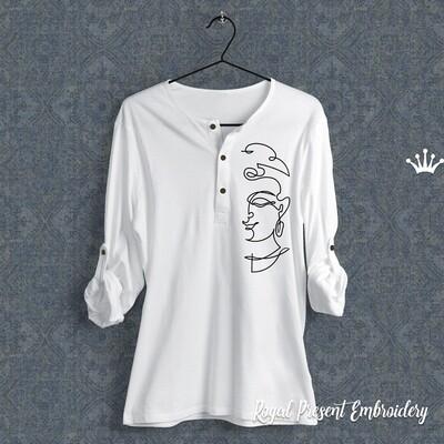 Contour Buddha Machine Embroidery Design - 9 sizes