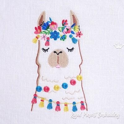 Alpaca Head Machine Embroidery Design - 3 sizes