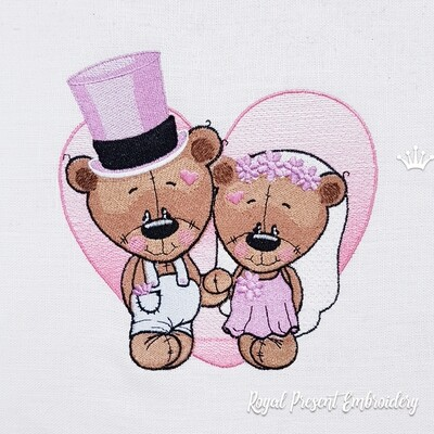 Groom and Bride Bears Machine Embroidery Design - 3 sizes