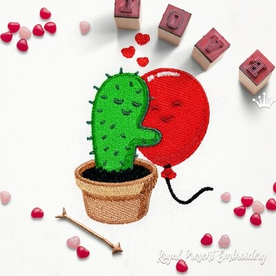 Cactus and Balloon Machine Embroidery Design - 2 sizes