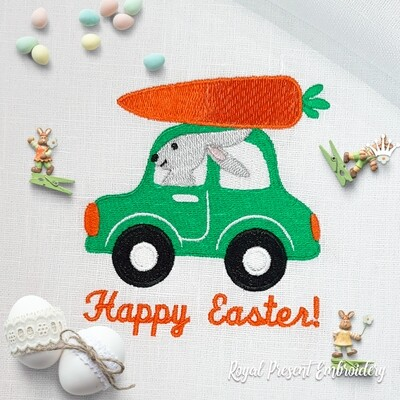 Easter Bunny with carrot Machine Embroidery Design - 2 sizes