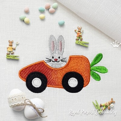 Carrot Bunny Car Machine Embroidery Design - 2 sizes
