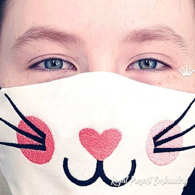 In The Hoop face mask Kitty Free Machine Embroidery Design