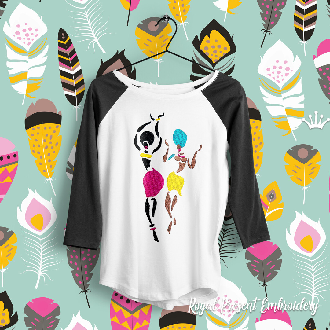 African Women Dancing embroidery design - 7 sizes