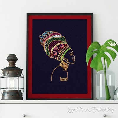 African Woman machine embroidery design - 6 sizes