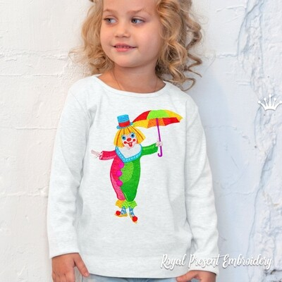Clown with Umbrella Machine Embroidery Design - 3 sizes