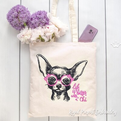 Chihuahua with glasses Machine Embroidery Design - 8 sizes