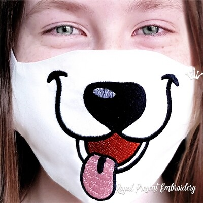 In The Hoop Puppy Dog Face Mask Free Machine Embroidery Design