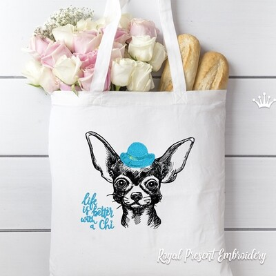 Chihuahua Boy Machine Embroidery Design - 8 sizes