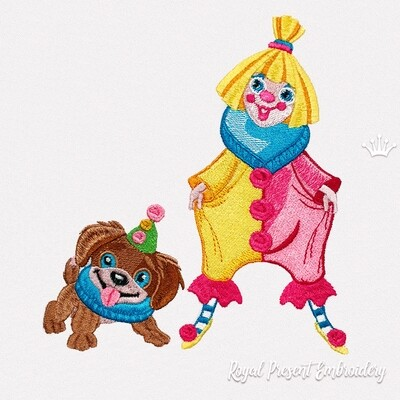 Funny Clown with Puppy Machine Embroidery Design - 4 sizes