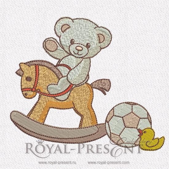 Teddy-bear Machine Embroidery Design - 2 sizes RPE-054