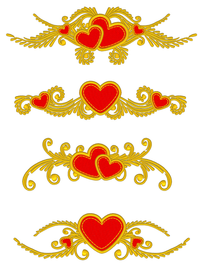 Machine Embroidery Designs Floral Hearts Set RPE-770