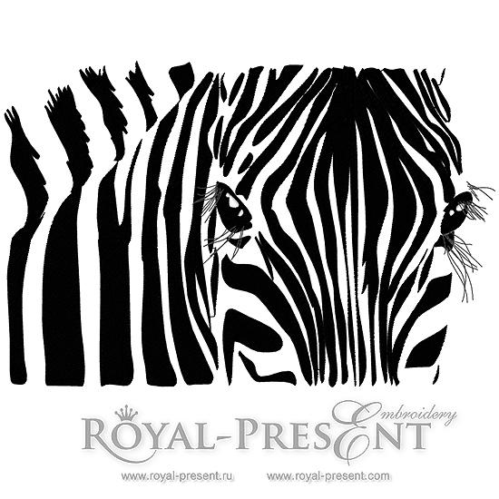 Machine Embroidery Design Zebra - 3 sizes RPE-1066