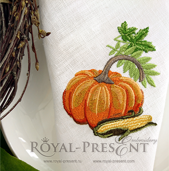 Machine Embroidery Design pumpkin, leaves, corn RPE-1070-01