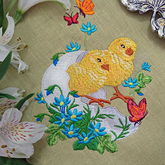 Vintage Easter chicks Machine Embroidery Design RPE-798