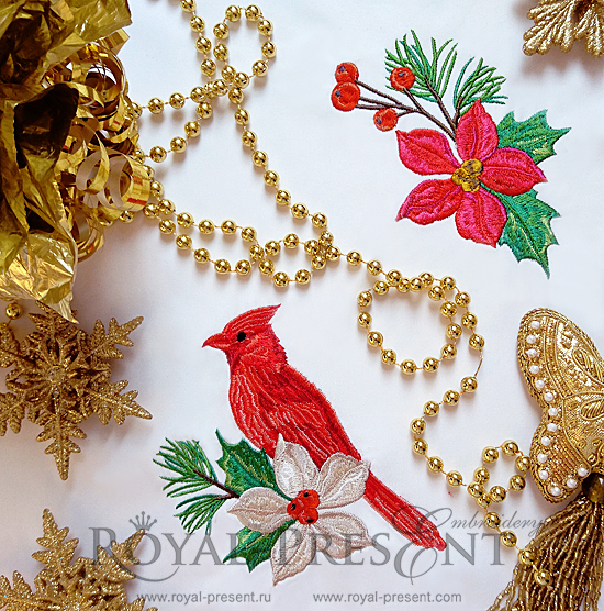 Set of Machine Embroidery Designs Red bird, poinsettia flower FRP-004
