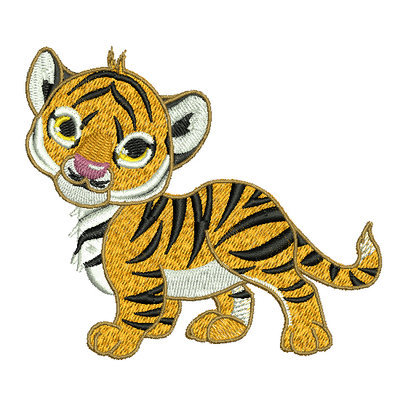 Machine Embroidery Design - Walking cute baby tiger