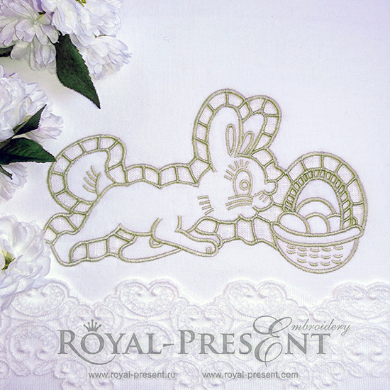Machine Embroidery Design Easter Bunny Richelieu - 3 sizes RDL-004