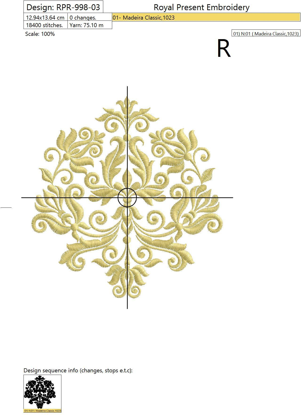 Machine Embroidery Design Vintage style Floral element - 3 sizes
