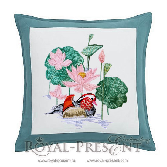 Machine Embroidery Design Lotus pond and mandarin duck - 3 sizes RPE-508