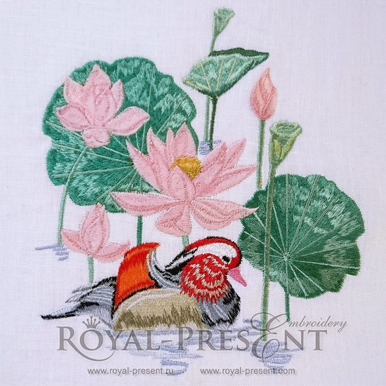 Machine Embroidery Design Lotus pond and mandarin duck - 3 sizes