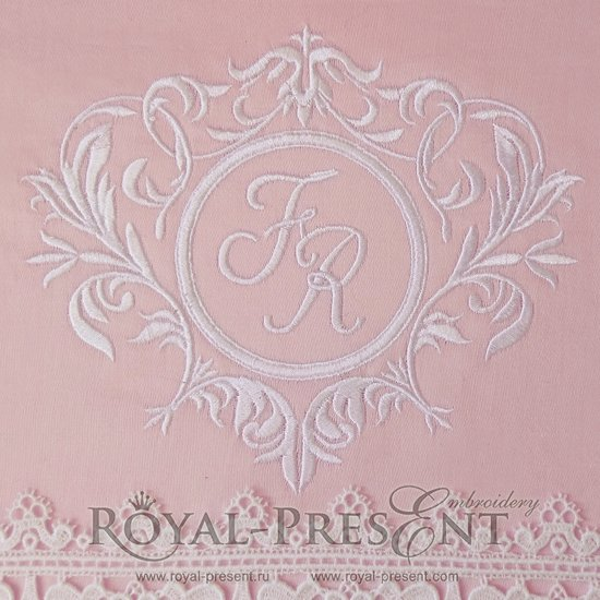 Machine Embroidery Design Elegant Floral Monogram Design Template