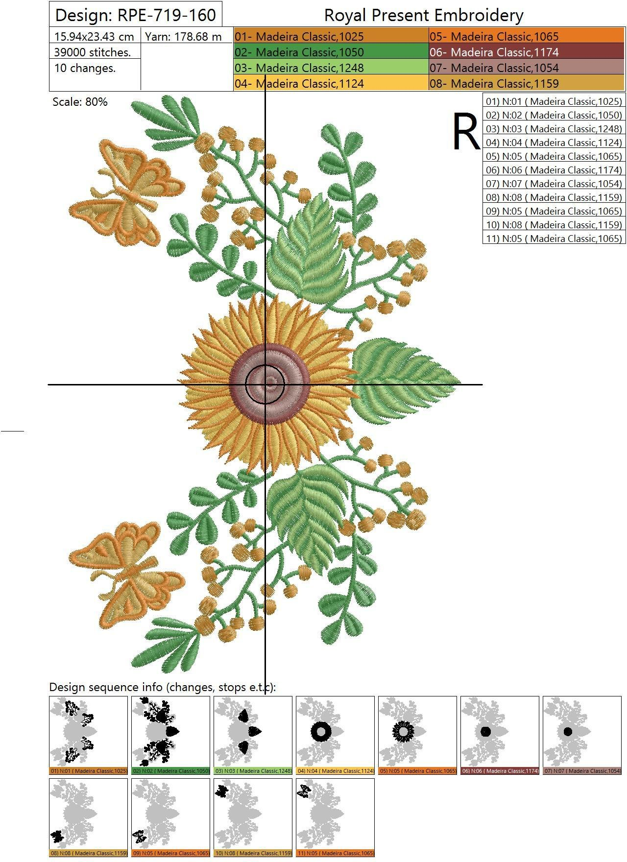 Machine Embroidery Design Sunflowers and butterflies - 2 sizes