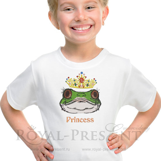 Machine Embroidery Design Princess Frog - 2 sizes RPE-498