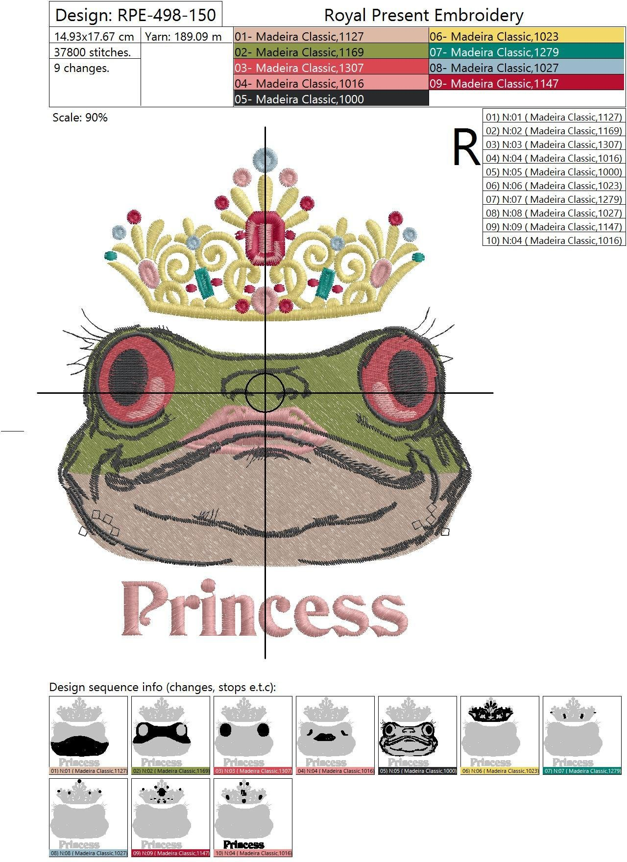 Machine Embroidery Design Princess Frog - 2 sizes