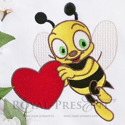 Machine Embroidery Design Cute bee holding a heart - 2 sizes